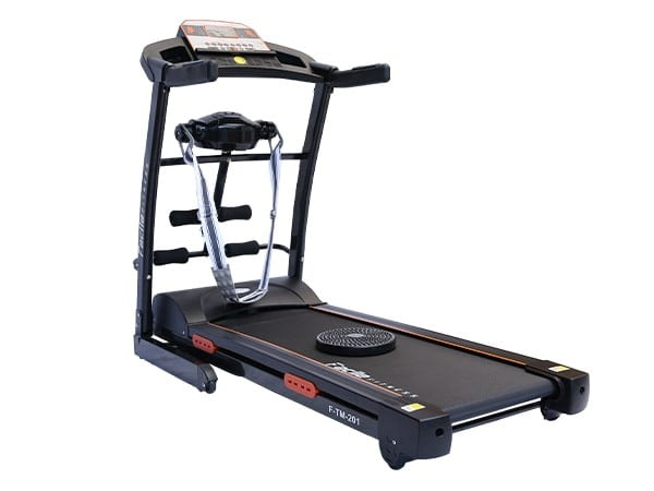 2.75 HP Semi Commercial Black Motorized Treadmill w/ Massager | 120 Kgs User Weight | Facile Fitness