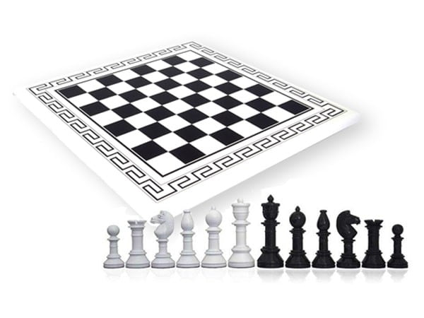 Italfama High Quality Lacquered wooden Chess Board Greek Frame | Made in Italy (Florence)