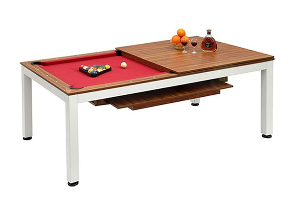 Knight Shot Dinette Dining Billiard Table|Knight Shot Dinette Bench | Brazil Birch Top | White Metal Legs