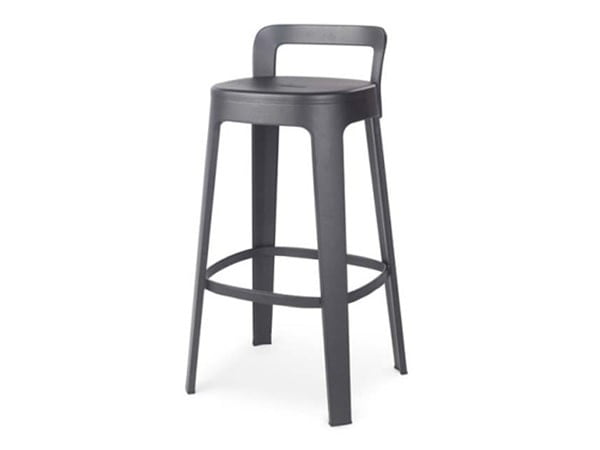 RS Barcelona Ombra Stool Counter with Back Rest | Black