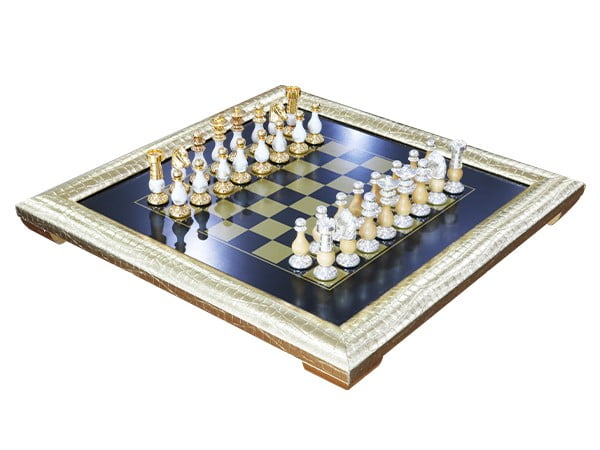 Italfama Chess Set Wooden Board Made of Elm Root w/ Decorative Frame