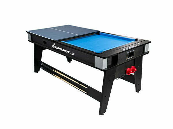 Knight Shot 4-in-1 Game Table 6ft Black (Pool Table W/ Dining Top, Air Hockey & Table Tennis)